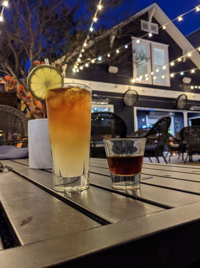 Drinks on the patio at Miss Angeline's in Denton Texas