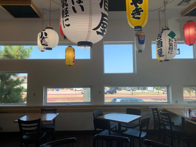 Inside of Tokyo Cafe, local Japanese restaurant in Fort Worth, Texas
