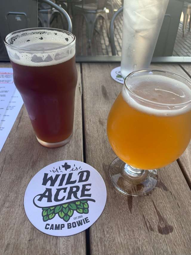 Locally-brewed beer from Wild Acre Brewing Company at Wild Acre Camp Bowie in Fort Worth, Texas